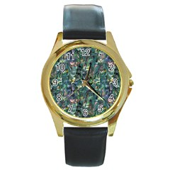 Paua Round Gold Metal Watch from Maori Creations Front