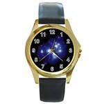 Matariki Round Gold Metal Watch