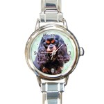English Toy Spaniel Round Italian Charm Watch