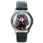 English Toy Spaniel Round Metal Watch