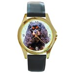 English Toy Spaniel Round Gold Metal Watch