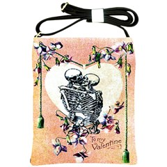 Till Death Skeleton Valentine Shoulder Sling Bag from Manda s Macabre Front