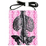 Pink Shabby Chic Skeleton Torso Shoulder Sling Bag