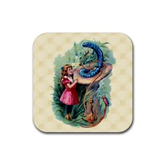 Vintage Alice In Wonderland Rubber Square Coaster (4 pack) from Manda s Macabre Front