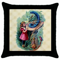 Vintage Alice In Wonderland Throw Pillow Case (Black) from Manda s Macabre Front