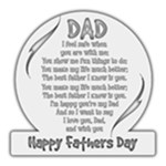 Round Happy fathers Day Plaque - 8 x8  Transparent Acrylic Cutout