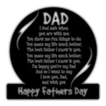 Round Happy fathers Day Plaque - 8 x8   Black Acrylic Cutout