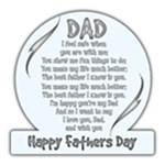Round Happy fathers Day Plaque - 8 x8  White Acrylic Cutout