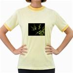Floating Leaf Fractal On Black Women s Fitted Ringer T-Shirt
