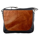 Brown Embossed Leather Texture Messenger Bag