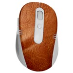 Brown Embossed Leather Texture Wireless Laser Optical Mouse