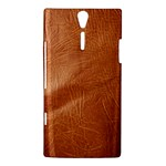 Brown Embossed Leather Texture Sony Ericsson Xperia S Hardshell Case