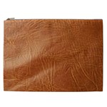 Brown Embossed Leather Texture Cosmetic Bag (XXL)