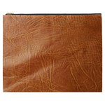 Brown Embossed Leather Texture Cosmetic Bag (XXXL)
