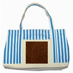 Flowers And Swirls Striped Blue Tote Bag