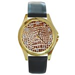 Ll Alligator Macro Round Gold Metal Watch