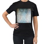 Ll Alligator Blue Women s Black T-Shirt (Two Sides)