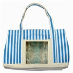 Ll Alligator Blue Striped Blue Tote Bag