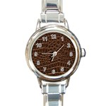 Leather Look & Skins Brown Crocodile Round Italian Charm Watch