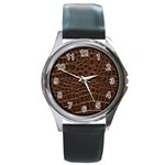 Leather Look & Skins Brown Crocodile Round Metal Watch