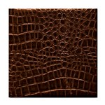 Leather Look & Skins Brown Crocodile Tile Coaster