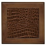 Leather Look & Skins Brown Crocodile Framed Tile
