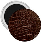 Leather Look & Skins Brown Crocodile 3  Magnet