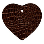 Leather Look & Skins Brown Crocodile Ornament (Heart)
