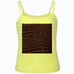 Leather Look & Skins Brown Crocodile Yellow Spaghetti Tank