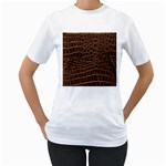 Leather Look & Skins Brown Crocodile Women s T-Shirt