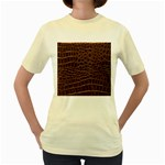 Leather Look & Skins Brown Crocodile Women s Yellow T-Shirt