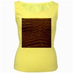 Leather Look & Skins Brown Crocodile Women s Yellow Tank Top