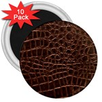 Leather Look & Skins Brown Crocodile 3  Magnet (10 pack)