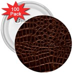 Leather Look & Skins Brown Crocodile 3  Button (100 pack)