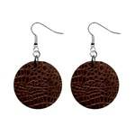 Leather Look & Skins Brown Crocodile 1  Button Earrings