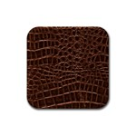 Leather Look & Skins Brown Crocodile Rubber Square Coaster (4 pack)