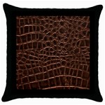 Leather Look & Skins Brown Crocodile Throw Pillow Case (Black)