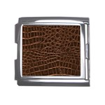 Leather Look & Skins Brown Crocodile Mega Link Italian Charm (18mm)
