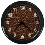 Leather Look & Skins Brown Crocodile Wall Clock (Black)
