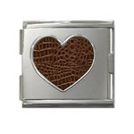 Leather Look & Skins Brown Crocodile Mega Link Heart Italian Charm (18mm)