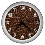 Leather Look & Skins Brown Crocodile Wall Clock (Silver)