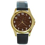 Leather Look & Skins Brown Crocodile Round Gold Metal Watch