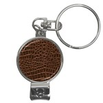 Leather Look & Skins Brown Crocodile Nail Clippers Key Chain