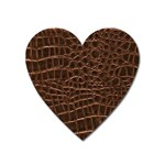 Leather Look & Skins Brown Crocodile Magnet (Heart)