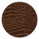 Leather Look & Skins Brown Crocodile Magnet 5  (Round)