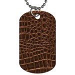 Leather Look & Skins Brown Crocodile Dog Tag (One Side)