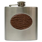 Leather Look & Skins Brown Crocodile Hip Flask (6 oz)