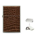 Leather Look & Skins Brown Crocodile Flip Top Lighter