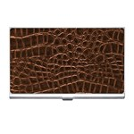 Leather Look & Skins Brown Crocodile Business Card Holder