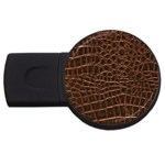 Leather Look & Skins Brown Crocodile USB Flash Drive Round (1 GB)